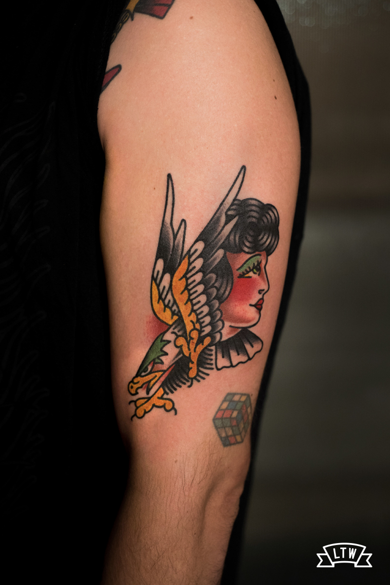 traditional tattoo of an eagle woman by Javier Rodríguez