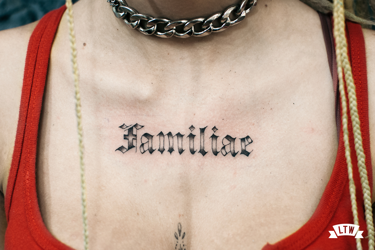 Lettering gothic tattooed by Dani Cobra