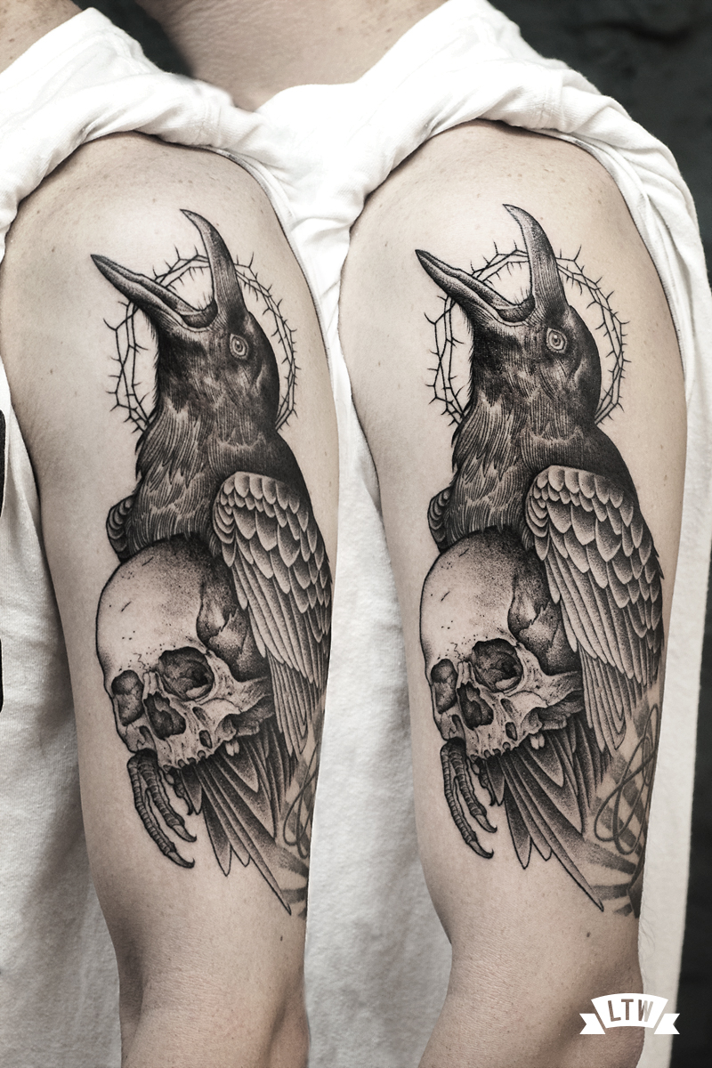 Crow tattooed by Andreu Matallana in black and grey