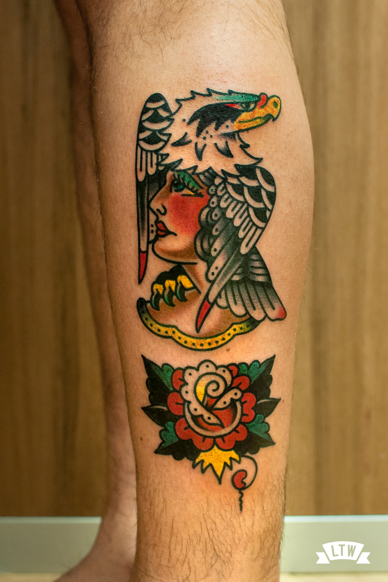 Woman with eagle tattooed in traditional style by Javier Rodríguez