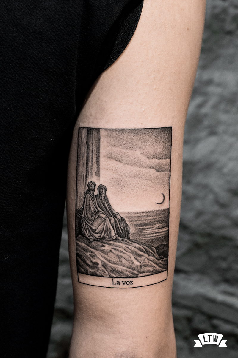 Card tattooed by Andreu Matallana in black and grey