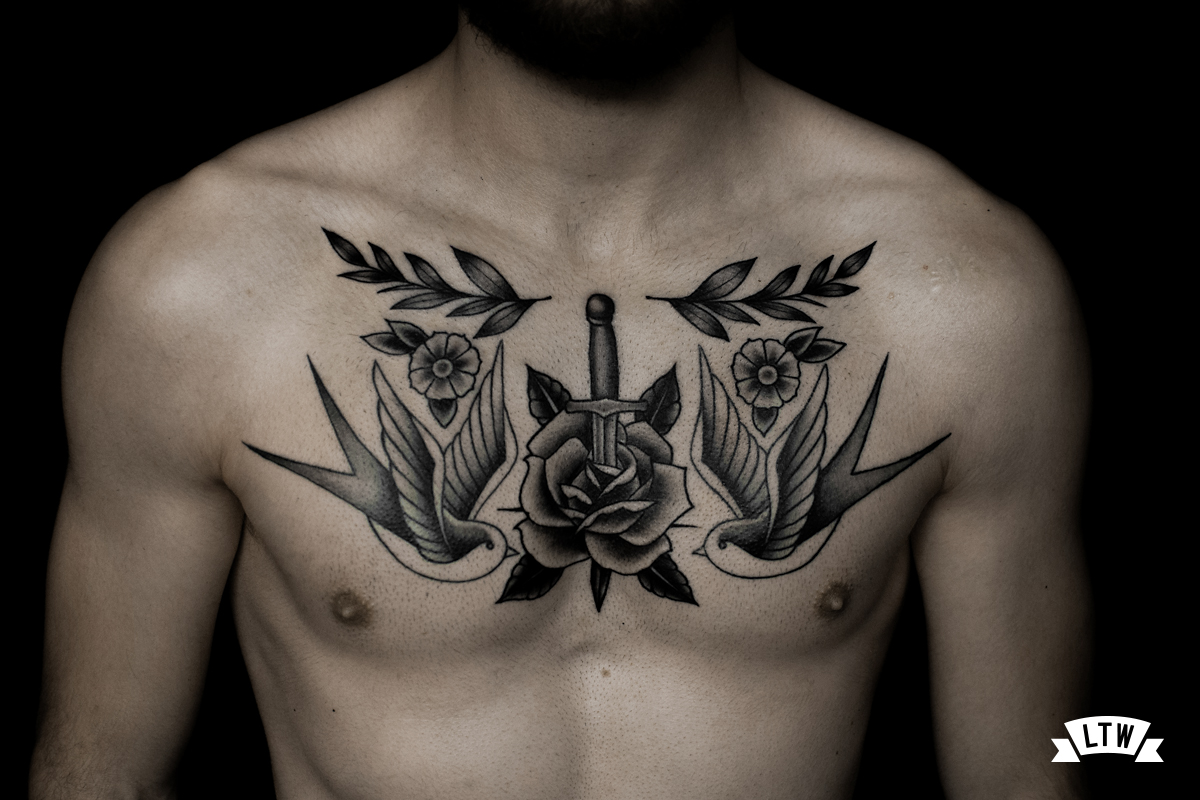 Chest tattooed by Alexis in black and grey