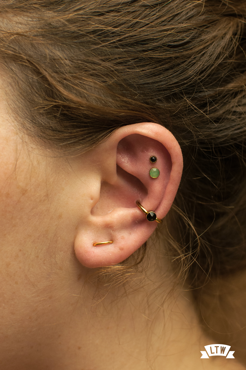 Orbital and conch piercings done by Sergi Tinaut