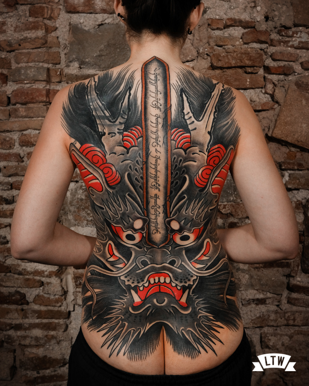 Back piece Cover up done by Nutz in a Japanese style
