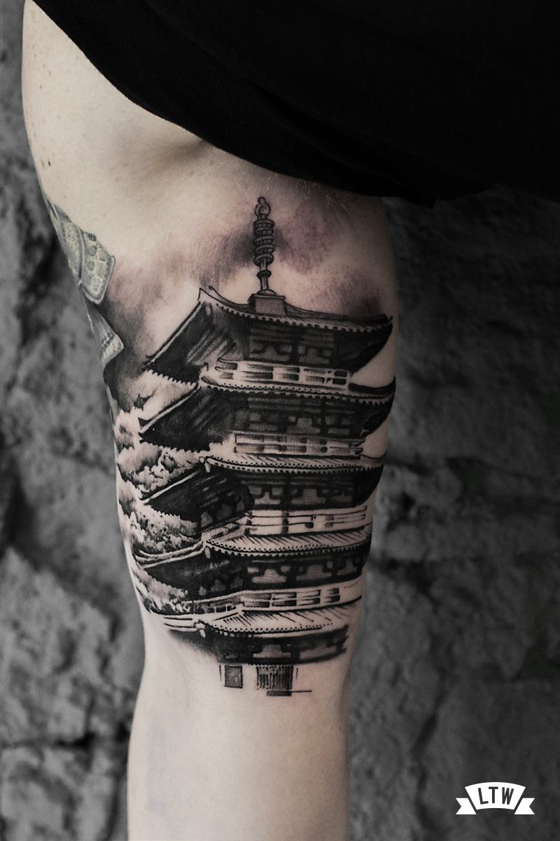 Realistic Japanese tower tattooed by Andrés