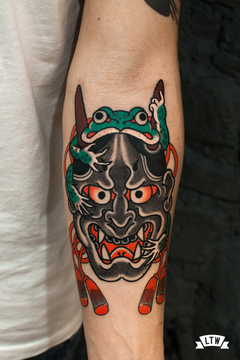 Hannya with a frog tattooed by Nutz