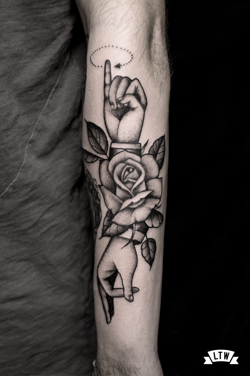 Rose and sign language tattooed by Alexis