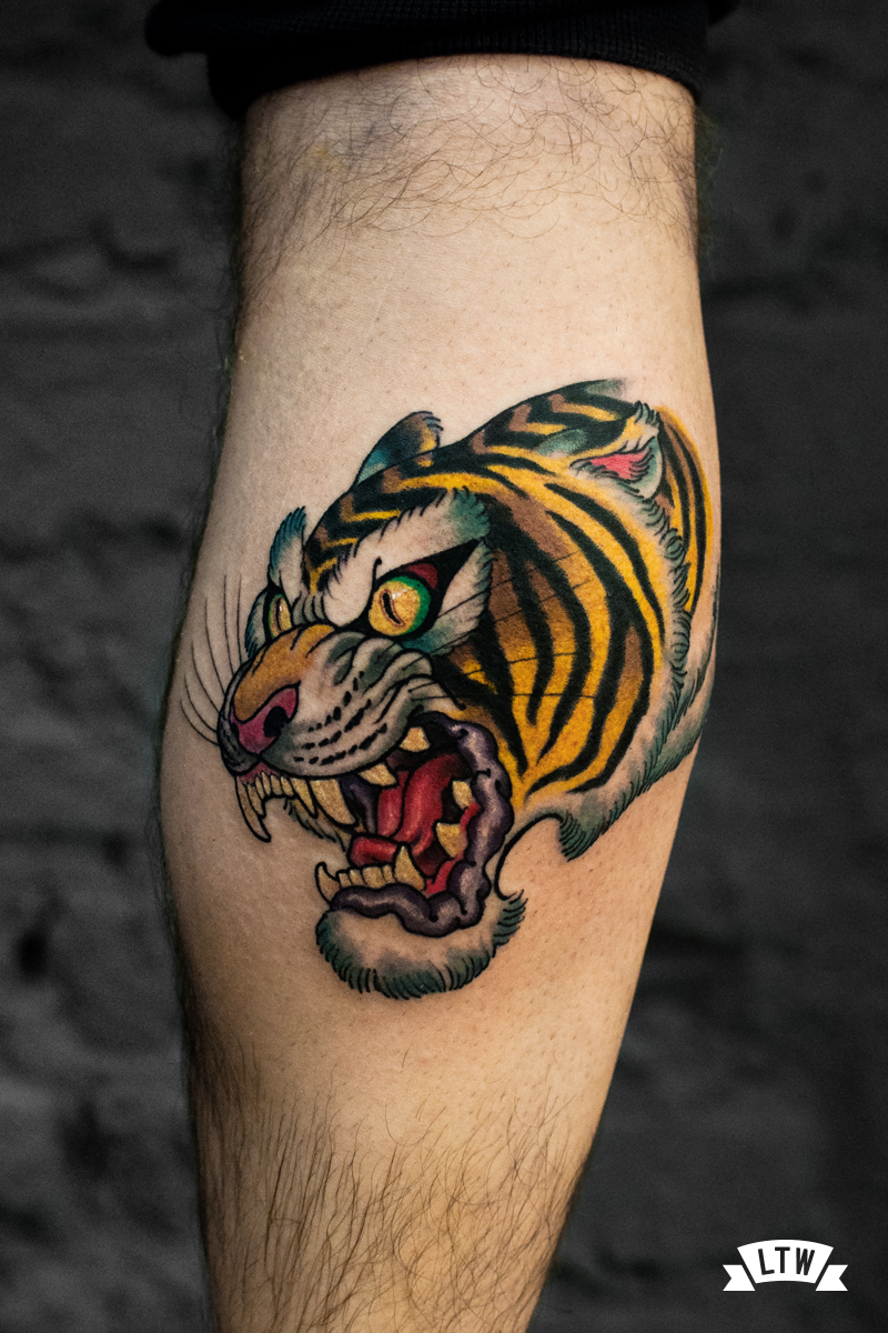 Tiger tattooed by Rafa Serrano