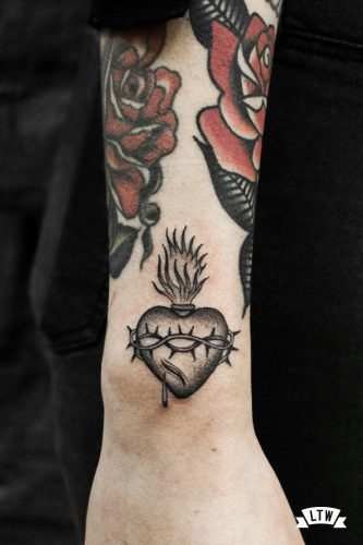 Sacred Heart in black and white tattooed by Cobra