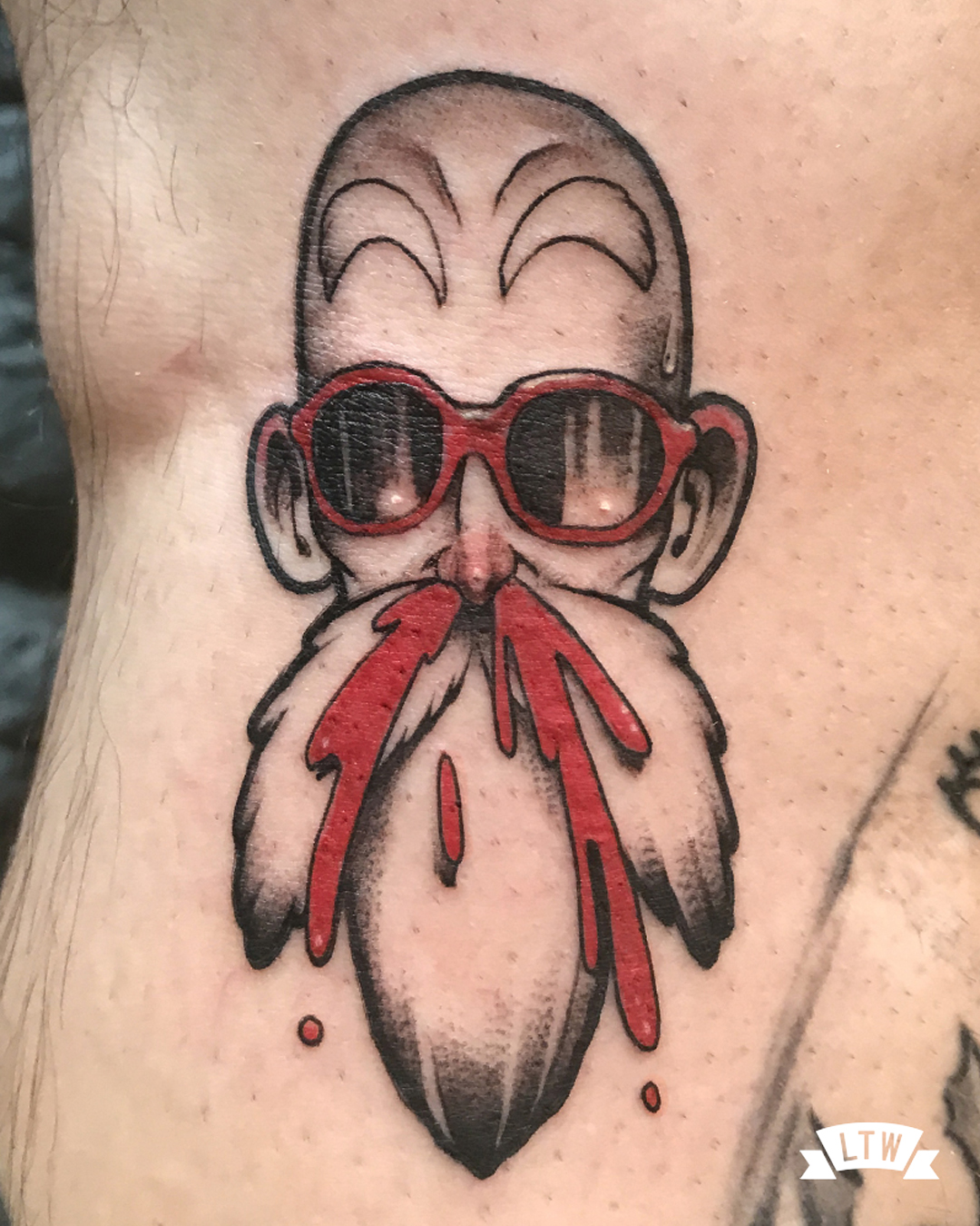 Bleeding out master Roshi tattooed in color by Man