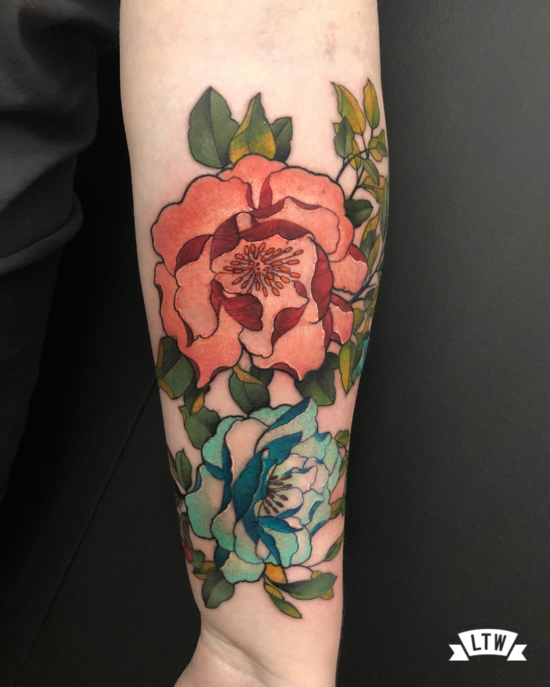 Flowers tattooed in color by Jon Pall
