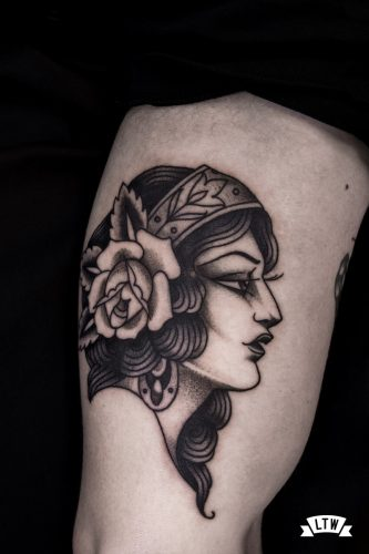 Black and white girl tattooed by Enol