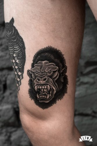 Black and white gorilla tattooed by Enol