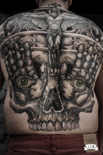 Backpiece Skull tattooed by Jon Pall