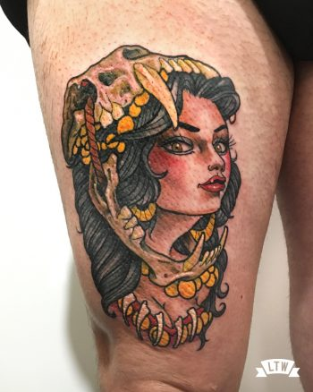 Girl tattooed in color by Rafa Serrano