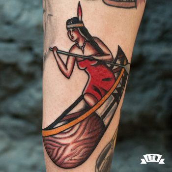 Native american with canoe tattooed by Dennis